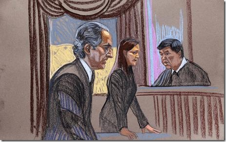 A court sketch of Bernard Madoff, prosecutor Lisa Baroni and judge Denny Chin