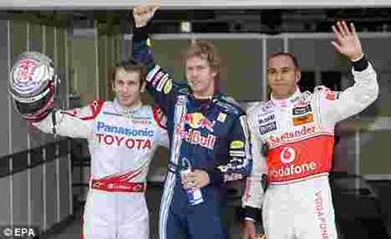 Vettel, Trulli, Hamilton