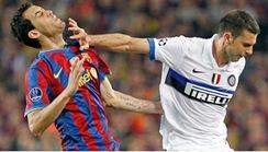 Pelanggaran Thiago Motta pada Sergio Busquet